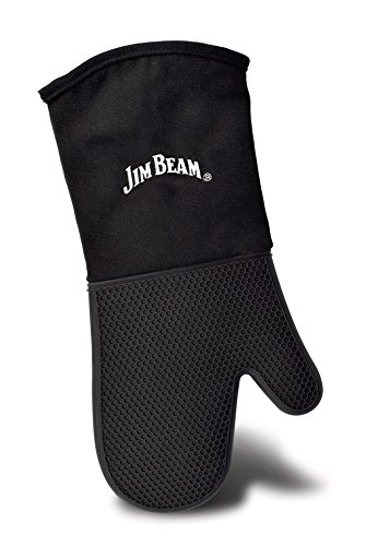 (Jim Beam JB0205 Soft and Comfortable Black Silicone Grilling Mitten, Large,)
