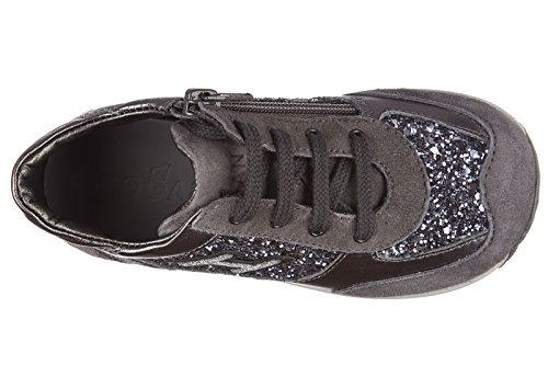 Hogan scarpe sneakers bimba bambina pelle nuove grigio