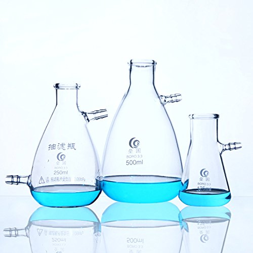 Filtering Flask Filter Flask Laboratory Filtration Apparatus 500ml Flask Erlenmeyer Flasks Labs Educational Filter Flask Clear Borosilicate Glass Bolt Neck with Tubulation by Cherish XT (Image #8)