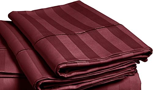 CHATEAU HOME COLLECTION Luxury 500 Thread Count 100% Egyptian Cotton Damask Stripe Deep Pocket Super Soft Sateen Weave, Mega Sale Lowest Prices, 2 Standard Pillowcases - Burgundy