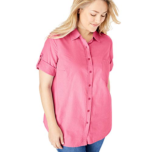Woman Within Women's Plus Size Petite Short Sleeve Button Down Seersucker Shirt - Bright Pink, -