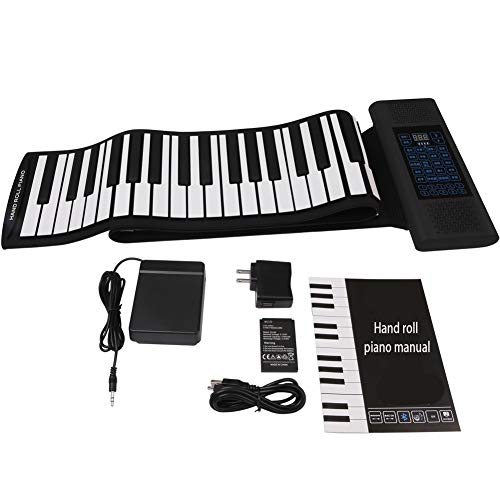 Portable 88-Key Electric Piano Keys, Folding, Silicone Keyboard with Pedals, Flexible Flat Roll with USB Port, Support for Midi Output, Connection to Computer, Mobile Phone