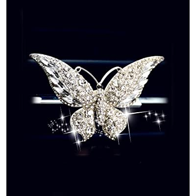 Bestbling Bling Crystal Car Fragrance Butterfly Car Diffuser Air Freshener with Vent Clip (Silver): Automotive