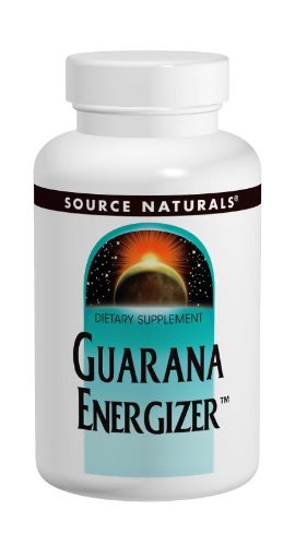 Source Naturals Guarana Energizer 900mg Pure Brazilian Herbal Caffeine Supplement - Natural, Slow Release Of Steady Energy - With Calcium - 60 Tablets