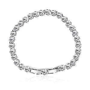 ZMC Rhodium Plated Alloy Swarovski Crystals Chain Bracelet for Women