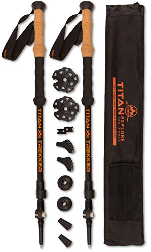 Titan Trekking Poles - 100% Carbon Fiber, Ultra Lightweight, Shock Absorbent and Collapsible Hiking Poles / Walking sticks with Quick Flip-Lock Technology, Cork Handle and All Terrain Accessories