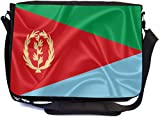 Rikki Knight Eritrea Flag Design Combo Multifunction Messenger Laptop Bag - with Padded Insert for School or Work - Includes Wristlet & Mirror