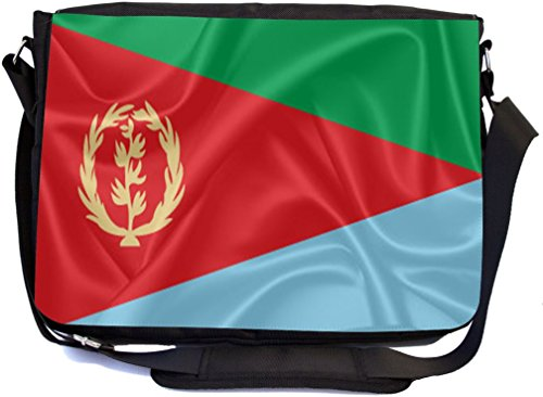 Rikki Knight Eritrea Flag Design Combo Multifunction Messenger Laptop Bag - with Padded Insert for School or Work - Includes Wristlet & Mirror by Rikki Knight