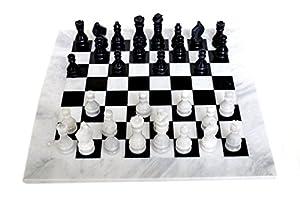 RADICALn Black and White Chess Game Handmade Marble Chess Set