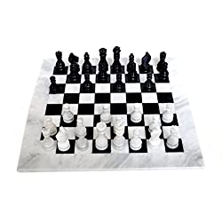 RADICALn Completely Handmade Original Marble Chess Board Game set Two Players Full Chess Game Table Set - Available in Different Colors (WHINBLK)