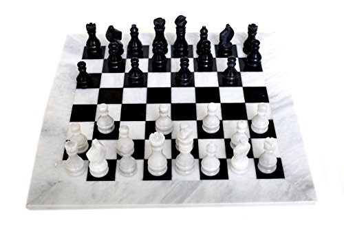 RADICALn Completely Handmade Original Marble Chess Board Game Set Two Players Full Chess Game Table Set (WHINBLK)