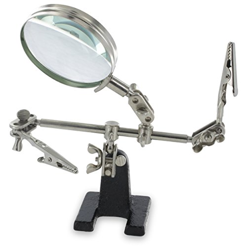 Ram-Pro Helping Hands Magnifier Glass Stand with Alligator Clips – 4x Magnifying Lens, Perfect for Soldering, Crafting & Inspecting Micro - Glasses Fix Arm