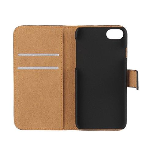 Protege tu iPhone, Para el iPhone 7 Genuino Split horizontal Flip caja de cuero con titular y ranuras para tarjetas y cartera Para el teléfono celular de Iphone. ( Color : Magenta ) Magenta