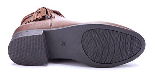 Schuhtempel24 Damen Schuhe Klassische Stiefeletten Stiefel Boots Blockabsatz 3 cm Camel