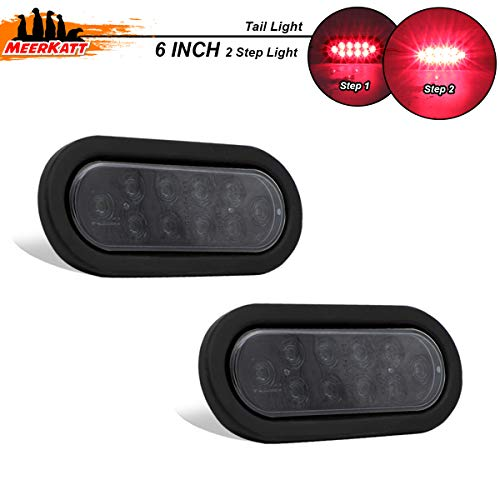 Meerkatt (Pack of 2) 6 Inch Oval Smoked Lens Red LED Flash Lights Clearance Lamp Waterproof Button w/Rubber & Plug Side Marker Bulb Trailer Camper Truck Jeep RV Pickup Van 12v DC Surface Mount UA12