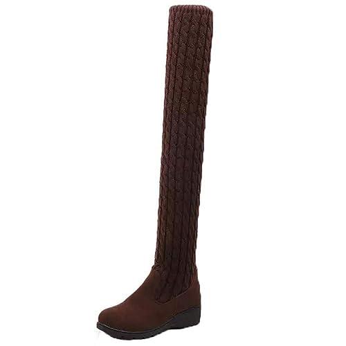 Btruely Herren Otoño Invierno Botas Mujer de Planos Tacon Ancho Piel para Zapatos de Altos Talones Cálido Calentadores de Pierna Calcetines para Botas de ...