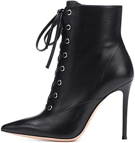 Insole Zapatos De Tacón De Otoño, Blanco Negro PU Cordón Puntiagudo Acentuadas Tobillo De Las Mujeres Botas para La Fiesta De La Boda La Vida Diaria,Negro,43  3vVxZ