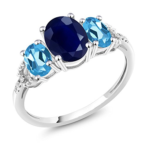 Gem Stone King 10K White Gold Blue Sapphire Swiss Blue Topaz and Diamond Accent 3-Stone Women's Engagement Ring 2.84 Ct Oval (Size 7)