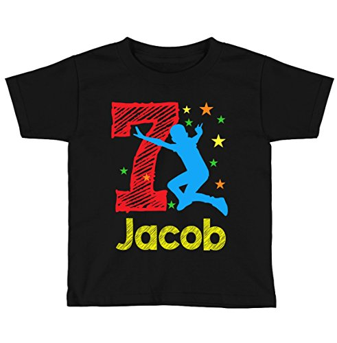 Boys Jump Trampoline Birthday Shirt Any Age and Name (Black, 6/7) ()