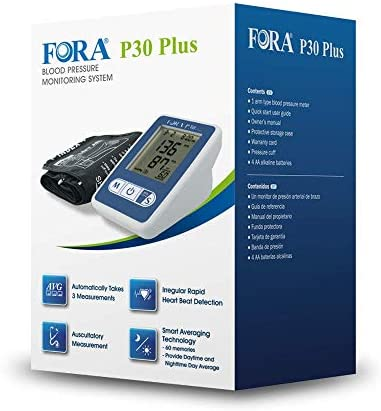 FORA P30 Plus Arm Blood Pressure Monitor with Smart Averaging Technology, Precise with 3 Measurements in 2 Minutes, Adjustable Cuff, 60 Test Memories, Perfect for Health Monitoring