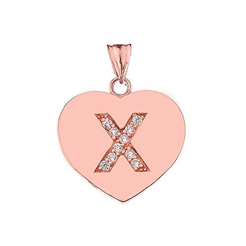 Elegant 10k Rose Gold Diamond Initial