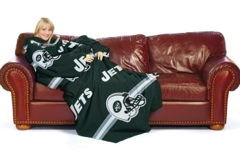 NFL New York Jets Comfy Throw Blanket with Sleeves, Stripes Design