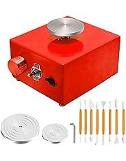 4YANG Mini Rueda de cerámica, 6.5cm y 10cm Placa giratoria Mini máquina de cerámica Rueda de cerámica eléctrica Herramienta de Arcilla DIY con Bandeja para Clay Art Craft (Rojo)