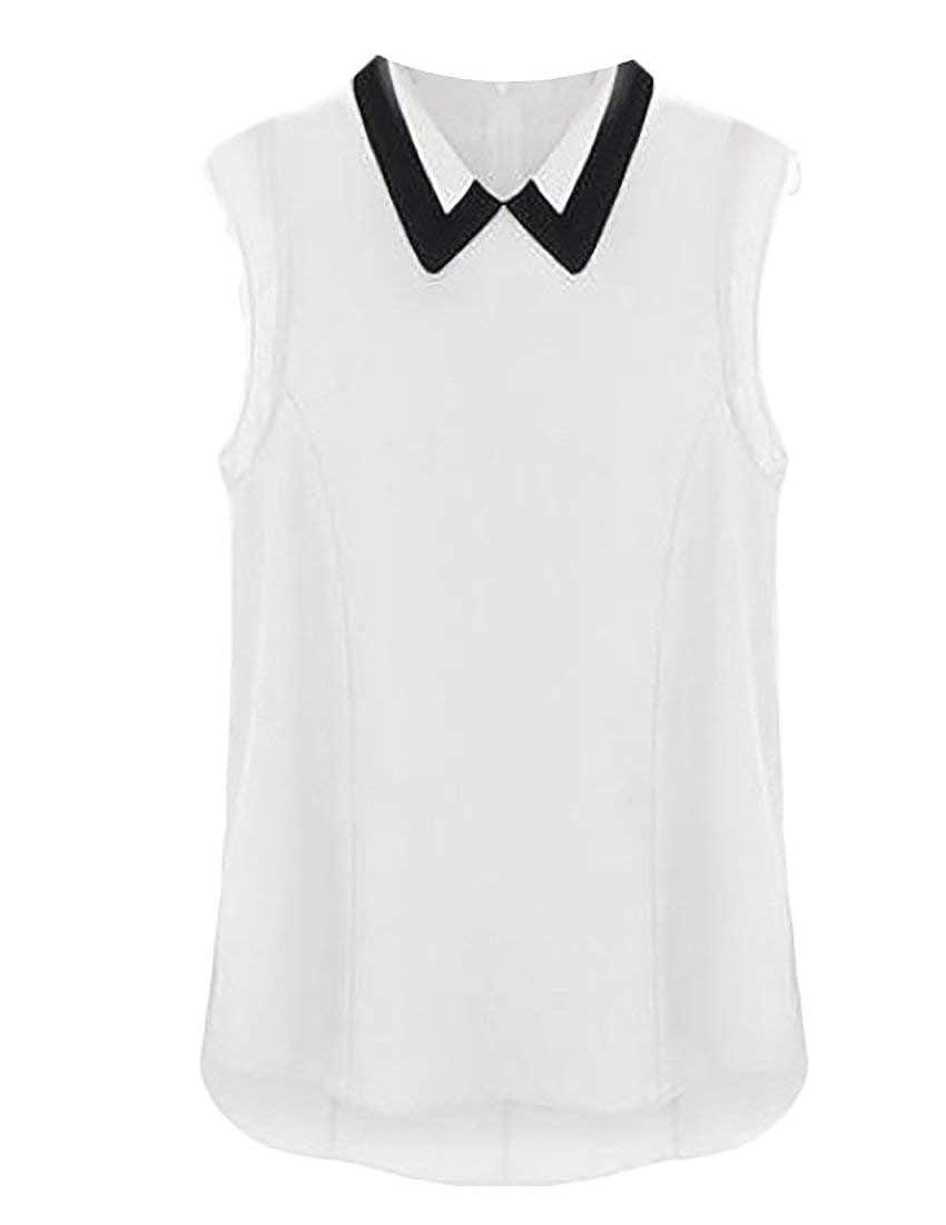 27abefb2c1ea02 Jaycargogo Women s Summer Peter Pan Collar Tank Top Blouse at Amazon  Women s Clothing store