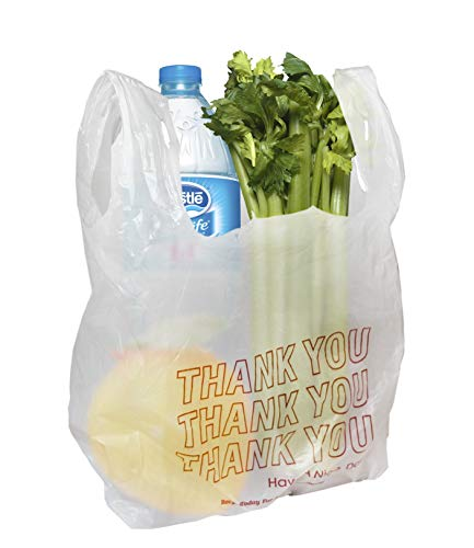 Amiff T-shirt bags 18x8x28 Plastic bags 18 x 8 x 28. 0.65 mil thick Carry Out T-Shirt Bags. Poly merchandise bags. Wholesale, retail shopping bags. Pack of 100 white grocery bags.