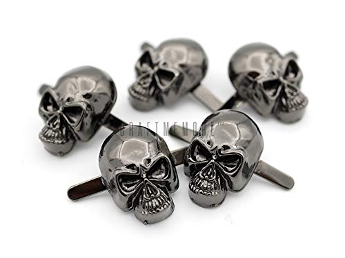 CRAFTMEmore Silver or Gun Black Skull Head Bone Prong Stud Gothic Style Ghost Studs Leather Craft Decorations Pack of 10 (Small 8 x 14 mm, Gunmetal)