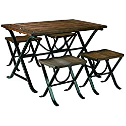 Signature Design by Ashley D311-225 Freimore Collection Dining Room Table and Stools, Set of 5, Medium Brown