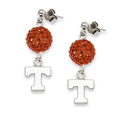 Lex & Lu LogoArt Sterling Silver Univ Of Tennessee Crystal Ovation Earrings
