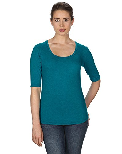 Top Sleeve 1/2 (Anvil Ladies Triblend Deep Scoopneck 1/2 Sleeve T-Shirt. 6756L - Large - Heather Galapagos Blue)