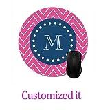 Custom Mousepad Mouse Pad Printer Navy Blue, Hot Pink Chevron | Your Monogram Mouse Mat