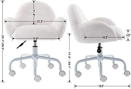 Guyou Faux Fur Kids Desk Chair With Armrest, Fuzzy Swivel Children Study Chair (White)