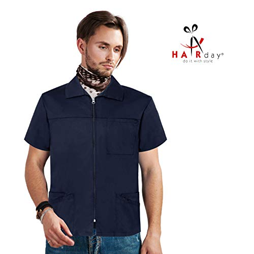 Barber Jacket, Men's Short Sleeve Scrub Jacket - Navy Professional Zip Up Shirt with Pockets - 4X ()