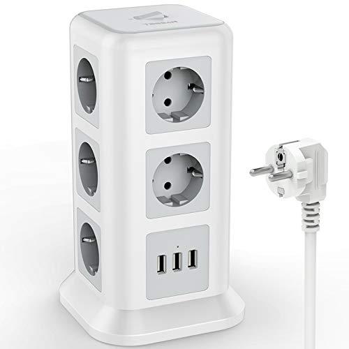 TESSAN Stekkerdoos met 11 Voudige (2500W/10A) 3 USB, met Overbelastingsbeveiligingsschakelaar, Meervoudige Stopcontacten…