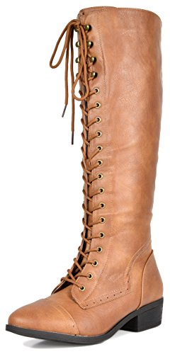 DREAM PAIRS Women's Vine Camel Faux Fur Knee High Riding Combat Boots Size 9 M US ()