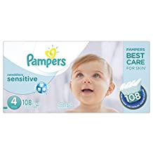 Pampers Swaddlers SENSITIVE Diapers Size 4, Super Economy Pack, 108 Count