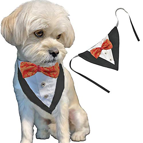 ANIAC Formal Dog Tuxedo Bandanas with Bow Tie Pet Costume Tail Collar Adjustable Neck Accessories Party Suit Wedding Neckwear Scarf for cat and Dogs (Red)