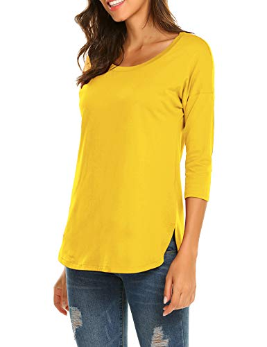 Sherosa Women's Casual 3/4 sleeve Loose Tunic Tops Scoop Neck T-Shirt (XL, Yellow)