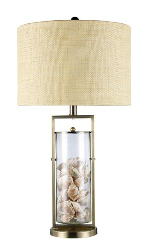 (Dimond D1978 15-Inch Width by 29-Inch Height Millisle Table Lamp in Antique Brass and Clear Glass with Shells Inside)