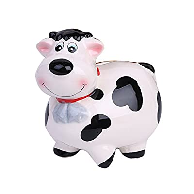 ZCHING Cute Cow Ceramic Piggy Bank Personalized Money Saving Bank for Kids Girls Boy Nursery Gift: Toys & Games