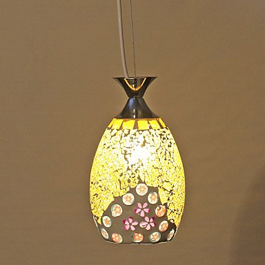 SS- Flora Pattern Yellow Mosaic Glass Pendant