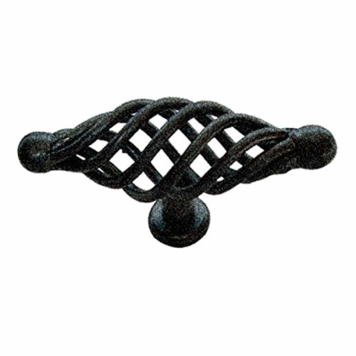 Black Cabinet Pulls Birdcage Iron Door Or Drawer Pulls Black 3 1/4 Inch ()