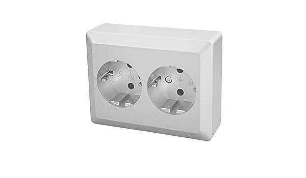 Base enchufe DOBLE de empotrar (Para hueco de 80x80mm): Amazon.es: Electrónica