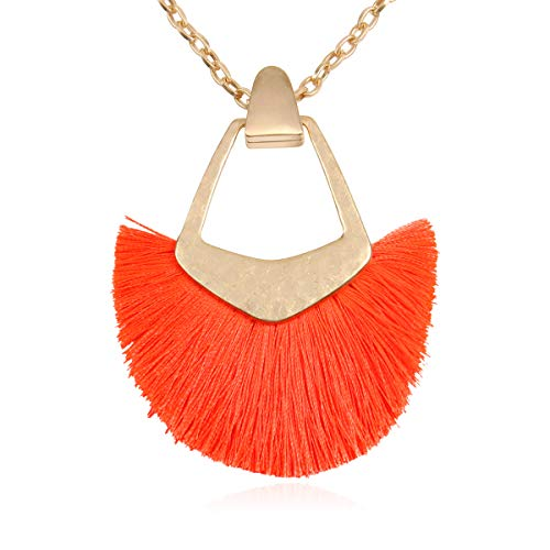 RIAH FASHION Bohemian Fringe Tassel Pendant Statement Necklace - Silky Strand Semi Circle Fan Charm, Teardrop Thread, Freshwater Pearl Charm Long Chain (Pentagon Fan Tassel - Neon Coral)