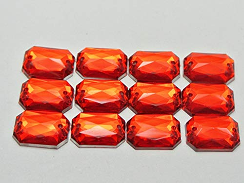 (100 Red Flatback Acrylic Rectangle Sewing Rhinestone Button 10X14mm Sew on Beads)