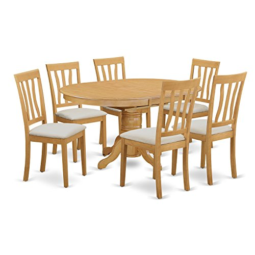 East West Furniture AVAT7-OAK-C 7 Piece Kitchen Dinette Table and 6 Chairs Set (Carved Oval Extension Table)