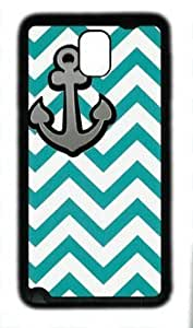 Anchor in Green Stripe Customized Rubber Black Samsung Galaxy Note 3 N9000 Case By Custom Service Your Perfect Choice